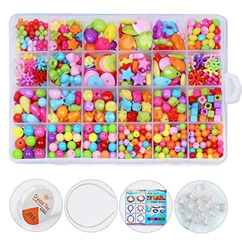 550pcs Bead Kit 24 Griglie fai da te Ciondolo acrilico del mestiere monili che fanno giocattolo educativo perline Crafting Set precoce per i bambini (Neri)