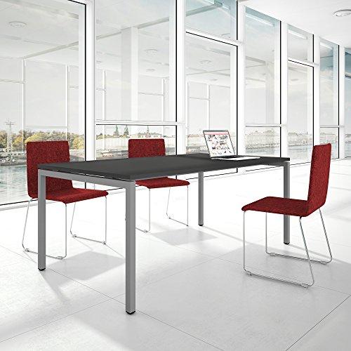 Weber Büro PROFI Besprechungstisch 200x100cm NOVA U 4-8 Pers. Konferenztisch Meetingtisch, Gestellfarbe:Silber