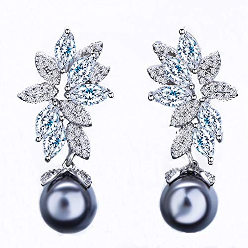 GUOZHENG Zirkone Glänzend Zirkonia Einstellung Blattform 925 Silber Baumelnde Graue Perle Ohrringe Schmuck Für Frauen Geschenk , Grau