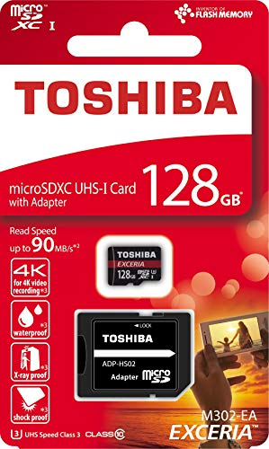 Toshiba EXCERIA M302-EA - Tarjeta de memoria MicroSDXC de 128 GB (UHS-I Clase 10), color negro