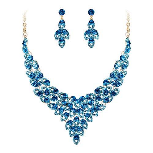 EVER FAITH Juegos de Joyas para Mujer Cristal Austríaco Fiesta Flor Hoja Ahuecado V Figura Azul Tono Dorado Collares Pendientes Conjunto