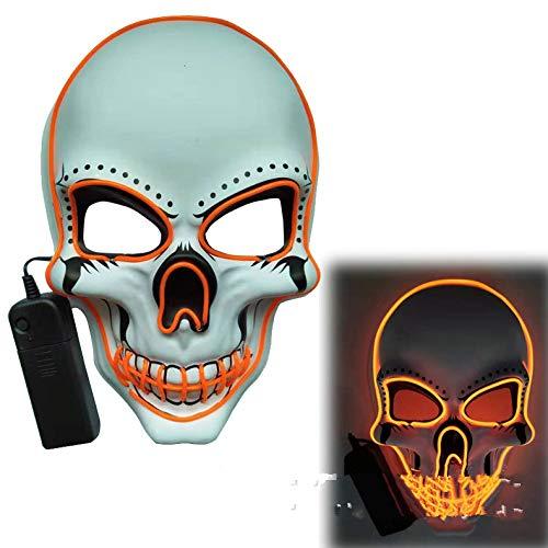 ACHICOO LED Halloween Scary Glow Skeleton Maske Cosplay Party Kostümzubehör Orange