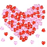 FEPITO 214Pcs Acrylic Heart for for Valentines Day Decorations, 0.87Inch Valentine's Day Heart Ornaments for Vase Filler, Table Scatter, Wedding Decorations (Red and Pink)