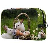 Regali per uomo Donna Borsa per il trucco Borsa da toilette Piccola borsa per cosmetici - Uova di cesto di conigli pasquali