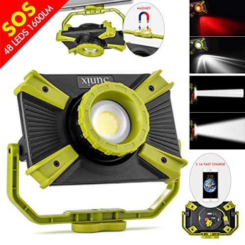 LED Arbeitslicht einstellbarer Fokus Akku wiederaufladbar, tragbare baustrahler mit Magnet, LED Strahler 1600LM 30W SOS Modus, Scheinwerfer für den Notfall LKW, Lampe camping 2.1A Schnellladung
