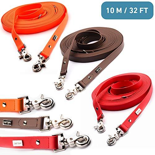 PetTec Schleppleine 10m aus Trioflex™, Wetterfest, Wasserabweisend, Robuste Hundeleine in Rot, Braun, Orange & Braun in Slim Edition