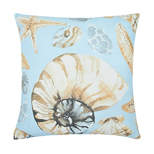 YINFUNG Decorative Throw Pillows Cases for Couch, Modern Style Cotton Ocean Theme Square Cushion Cover 18' x 18' 45cm x 45cm, Shape-Conch Shell-Starfish