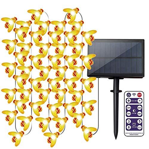Solar-Lichterkette für den Garten, 10 m, 60 LEDs, Honigbienen-Lichterkette mit Fernbedienung, wasserdicht, für den Außenbereich, für Blumenzaun, Rasen, Terrasse, Festoon, Sommerparty, Weihnachtsferien