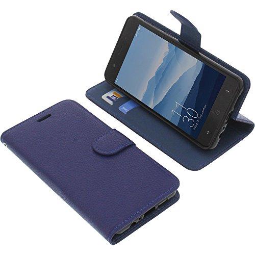 foto-kontor Tasche für Elephone P8 Mini Book Style blau Schutz Hülle Buch