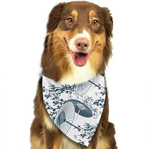 iuitt7rtree Halstuch, waschbar, Sakura Regenschirm-Muster, Dreieck, einzigartig, nie veraltet, für Haustiere, Katzen und Hunde
