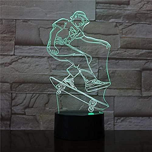 Neu Led Nachtlichter 3D Cool Skateboard Sport Led 3D Nachtlampe Bunte Led Tisch Schreibtischlampe Figur Kinder Schlafen 3D Lampe Als Baby Kind Spielzeug Geschenk