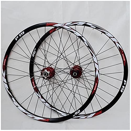 ZPPZYE 26 Pulgadas 27,5' 29 Er Ruedas de Bicicleta, Pared Doble Aleación Aluminio Ruedas Bicicleta Montaña Buje Rodamientos Sellados Ruedas 12 Velocidades (Color : Rojo, Size : 29 Inch)