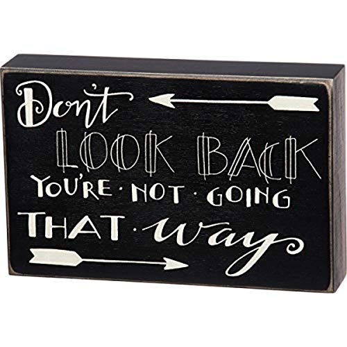 Primitives by Kathy Hand-Lettered Classic Box Sign, 8.5 x 5.5-Inches, Don't Look Back