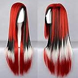 Pelucas sintéticas fibric sintéticas de alta temperatura de las mujeres rectas amarillo azul rojo pelucas cosplay, 35_28inches_España