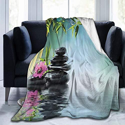 QIUTIANXIU Mantas para Sofás de Franela 150x200cm Torre de Piedras aromáticas e hibiscos con bambú sobre el Agua de Fondo borroso Manta para Cama Extra Suave