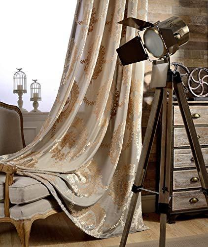 adaada 2er-Set vorhänge Europäische Jacquard vorhänge für Wohnzimmer (Braun, 245 * 140cm)