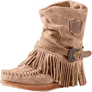 SHUSUEN Boots Tassels Women Retro Roman Midi Calf Boots Comfy Flat Bottom Booties Outdoor Fringe Western Shoes