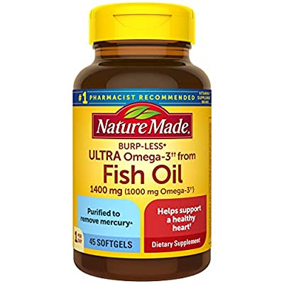Fish Oil Burp-Less Ultra Omega 3 1400 mg One Per Day, 45 Softgels, Fish Oil Omega 3 Supplement For Heart, Brain, and Eye Health