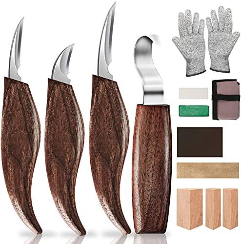 Holz-Schnitzwerkzeug Set, 13 Teiliges Holz Schnitzmesser mit Schleifsteine, Professional Holzschnitzerei Messer Werkzeuge ideales Schnitzmesser-Set für Anfänger und Profis mit Schnittfeste Handschuhe