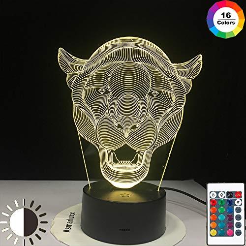KangYD 3D Nachtlicht Lion Face Decoration, LED Optische Täuschungslampe, D - Remote Crack White (16 Farbe), Hohe Qualität, Kunsthandwerk, Kunstnachtlampe, Moderne Lampe, Fashion Light