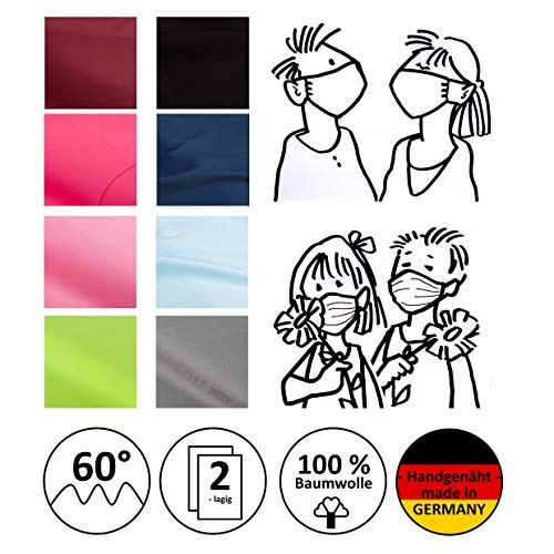 Mund- und Nasenmaske, Community-Maske, Alltagsmaske, Behelfsmaske, Gesichtsmaske - Kinder/Erwachsene - unifarben - handgenäht in Deutschland