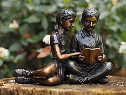 Thermobrass - Figura Decorativa para jardín, diseño de Dos niños con Libros