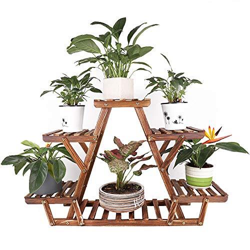 unho Soporte de Madera para Flores Estantería para Macetas Plantas con 6 Estantes para Jardín Exterior Interior Balcón Terraza Esquina 71 x 25.4 x 58cm