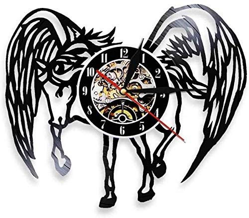 ZZLLL Reloj de Goma Negro LED Reloj de Registro Reloj Colgante de Pared Juego de Arte Reloj de Pared Reloj de decoración de Caballo de ala de ángel