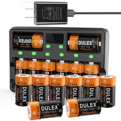 CR123A Rechargeable Batteries, DULEX 16 Pack 700mAH Arlo Rechargeable Battery and Charger for Arlo VMC3030 3200 3330 3430 3530 Security Cameras