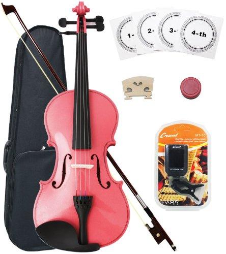 Crescent 1/4 Size Student Violin Starter Kit, Pink Color (Includes CrescentTM Digital E-Tuner)