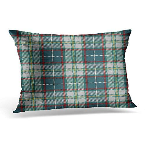 Awowee Funda de cojín de 30 x 50 cm, diseño de tartán tradicional escocés con muestras inspiradas en cuadros para decoración de Navidad adecuada para decoración del hogar, funda de cojín para sofá o silla y cama