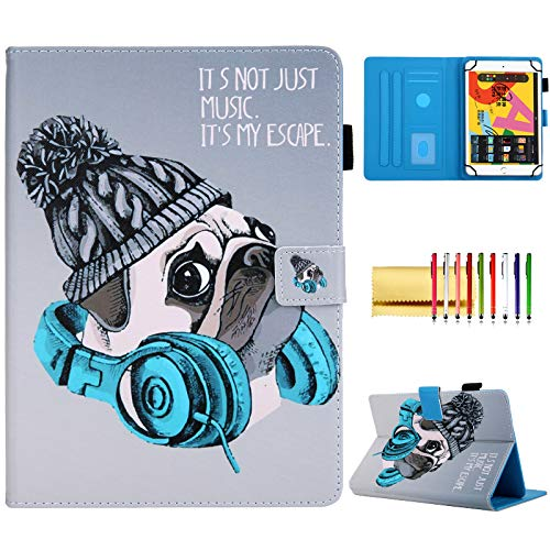 Techcircle Universal Folio für 9,6-10,5 Zoll Tablet, schlank, rutschfest, Standfunktion, magnetisch, mit Stifthalter, für Galaxy Tab A 9,7 10,1 10,5, Dragon Touch K10 und mehr, Musikh&