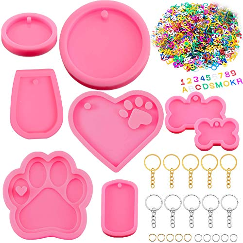 Kalolary 8 Pieces Dog Bone Shaped Silicone Keychain Mold Heart Paw Shaped Mold Dog Tag Pendant Casting Mold Round Epoxy Resin Mold with Key Rings Small Letters