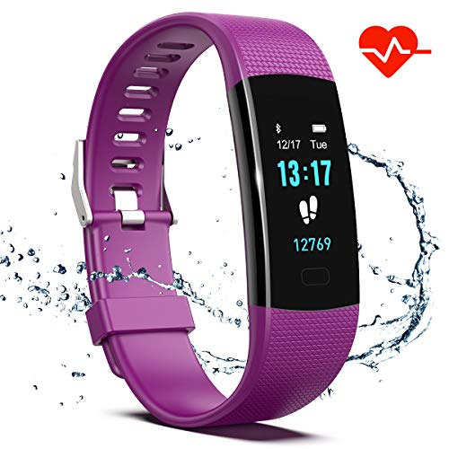 Saikee Fitness Tracker, Activity Tracker Watch with Heart Rate Monitor, Sleep Monitor, Step Counter Fitness Watch IP67 Waterproof Pedometer, Compatible with iPhone & Android (Purple)