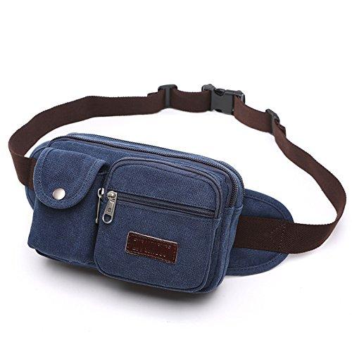 Gendi hommes rétro Fanny Casual sac à taille de toile de sport en plein air petit sac à bandoulière ceinture pour Voyage Sac Vintage Vintage vélo (bleu foncé)