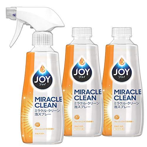 【まとめ買い】 ジョイ ミラクルクリーン 泡スプレー 食器用洗剤 フレッシュシトラスの香り 本体 300mL + つけかえ用 300mL×2個