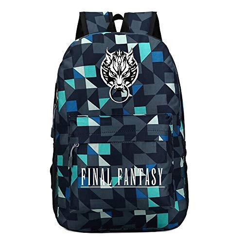 Final Fantasy Daypacks Rucksack-Schul Daypack Trekkingrucksack Wandern Tasche Mann und Frauen Mode Trendsport Wild Style Final Fantasy Unisex Rucksäcke (Color : Blue06, Size : 45 X 31 X 13cm)