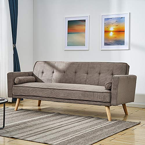 Panana Modern 3 Seater Sofa Bed Jumbo Cord Fabric Sofa Couch Settee Click Clack Recliner Sleeper with 2 Free Cushions for Living Room (Khaki)