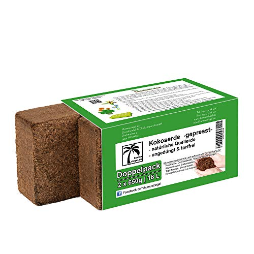 Humusziegel Anzuchterde - 18 L Kokoserde - 2 x 650g - Blumenerde aus Kokosfaser - natürlich & torffrei - geeignet als Palmenerde, Erde für Zimmerpflanzen, Chili Erde, Pflanzenerde