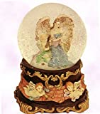 Angelic Guardian Angel Holding Baby - - Sculptured Resin Water Ball Music Box 5 3/4' High