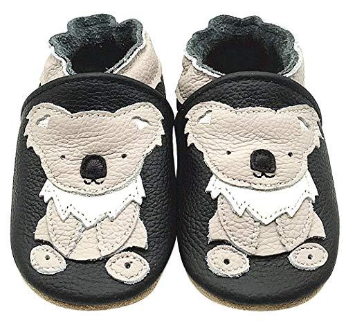 Acfoda Weich Leder Babyschuhe Lauflernschuhe Jungen Mädchen Krabbelschuhe Baby Hausschuhe mit Ledersohle Antirutsch Lederpuschen Kinder Schuhe Neugeborene Kleinkinder Lederschuhe Schwarz 6-12 Monate