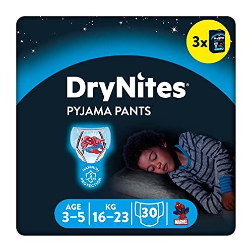 DryNites, pannolini assorbenti notturni per bagnare il letto, per ragazzi 3-5 anni (16-23 kg), 30 pezzi