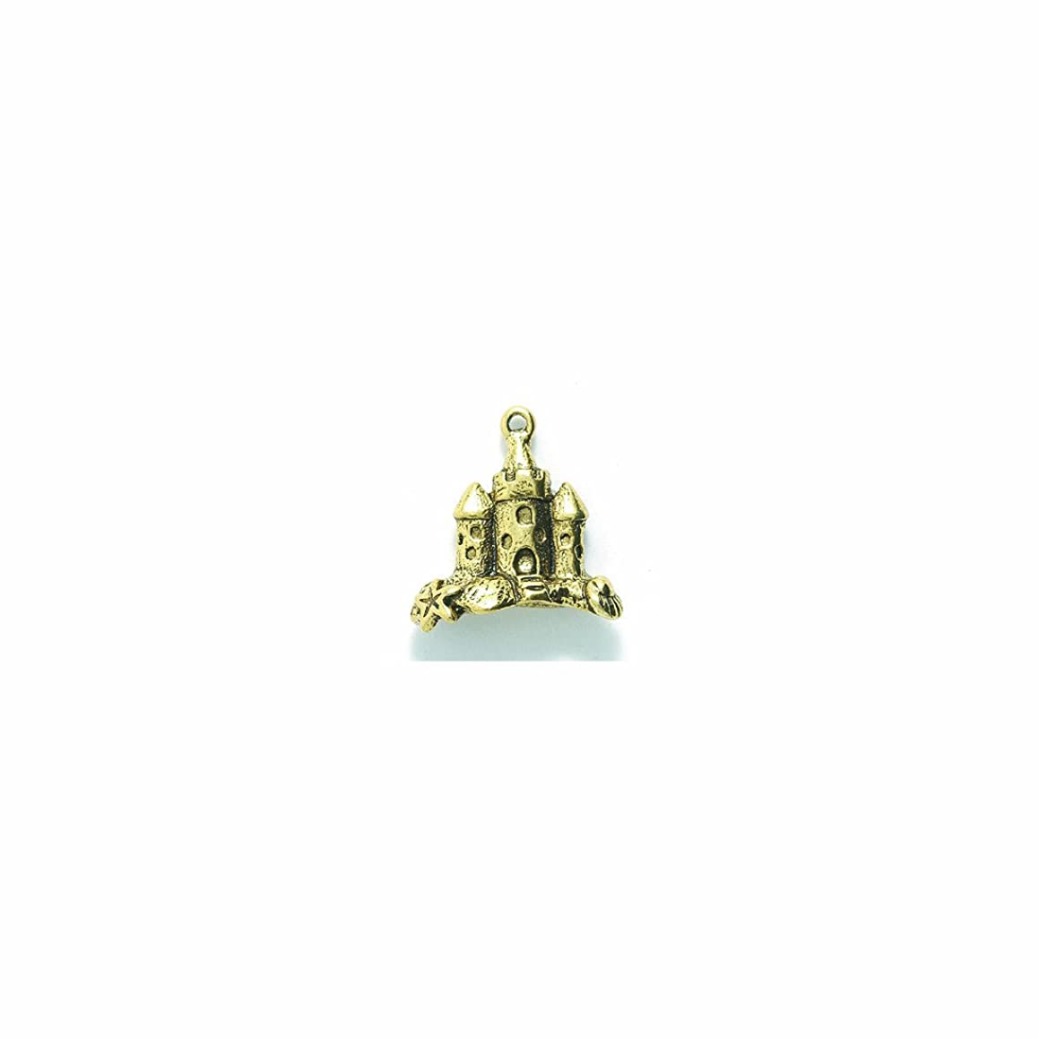 Shipwreck Beads Pewter Sand Castle Charm, Antique Gold, 20 by 20mm, 2-Piece