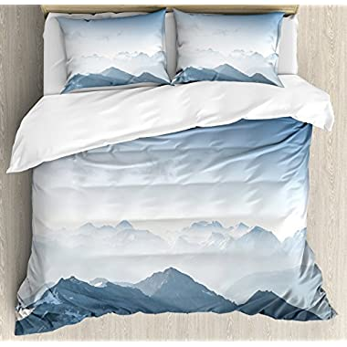 Ambesonne Farmhouse Decor Duvet Cover Set, Fog Morning in Rock Mountain Region in Northern Hiking Climbing Ice Photo, 3 Piece Bedding Set with Pillow Shams, Queen/Full, Soft Blue