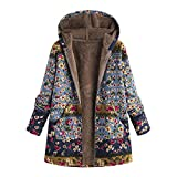 LEXUPE Women Autumn Winter Warm Comfortable Coat Casual Fashion Jacket Outwear Floral Print Hooded Pockets Vintage Oversize Coats Blue