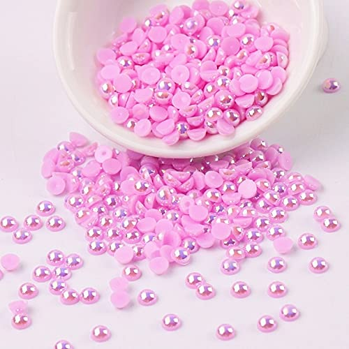 Perlas de perlas de imitación acrílicas semirredondas de 2-10 mm, perlas para manualidades, decoración de bricolaje, arte de uñas, accesorios de joyería, accesorios-China, AB Lila Pink, 8 mm 60 piezas