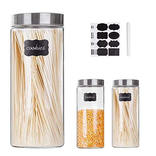 Glass Kitchen Storage Canister Jars Set with Stainless Steel Lids For The Kitchen,Set of 3,71 oz