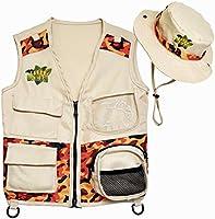 Safari Kidz Outdoor Explorer Kit - Camouflage Cargo Vest and Hat Set, Backyard Nature Adventures, Park Ranger,...