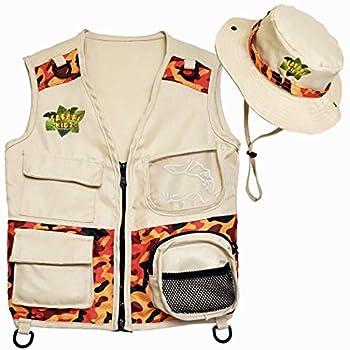 Safari Kidz Outdoor Explorer Kit - Camouflage Cargo Vest and Hat Set Backyard Nature Adventures Washable Costume for Boys and Girls