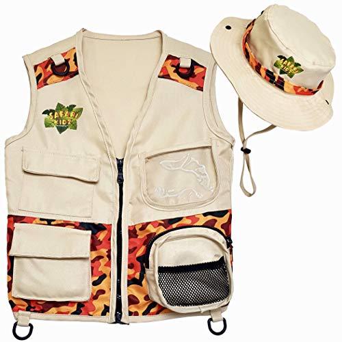 Safari Kidz Outdoor Explorer Kit - Camouflage Cargo Vest and Hat Set, Backyard Nature Adventures, Washable Costume for Boys and Girls